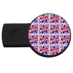 Happy 4th Of July Theme Pattern USB Flash Drive Round (4 GB)