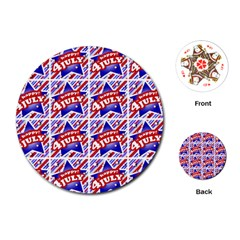 Happy 4th Of July Theme Pattern Playing Cards (Round)
