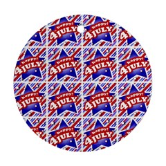 Happy 4th Of July Theme Pattern Round Ornament (Two Sides)
