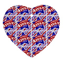 Happy 4th Of July Theme Pattern Heart Ornament (Two Sides)
