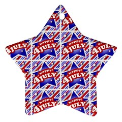 Happy 4th Of July Theme Pattern Star Ornament (Two Sides)