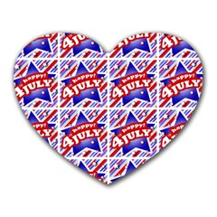 Happy 4th Of July Theme Pattern Heart Mousepads