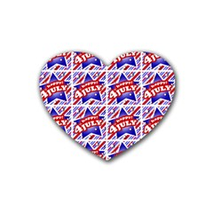 Happy 4th Of July Theme Pattern Rubber Coaster (Heart)
