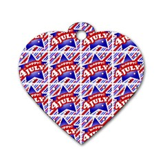 Happy 4th Of July Theme Pattern Dog Tag Heart (Two Sides)