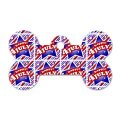 Happy 4th Of July Theme Pattern Dog Tag Bone (One Side)