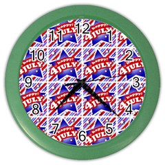 Happy 4th Of July Theme Pattern Color Wall Clocks