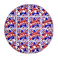 Happy 4th Of July Theme Pattern Round Filigree Ornament (Two Sides)