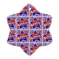 Happy 4th Of July Theme Pattern Snowflake Ornament (Two Sides)