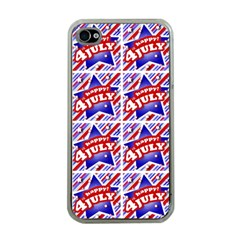 Happy 4th Of July Theme Pattern Apple iPhone 4 Case (Clear)