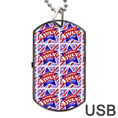 Happy 4th Of July Theme Pattern Dog Tag USB Flash (Two Sides)