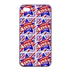 Happy 4th Of July Theme Pattern Apple iPhone 4/4s Seamless Case (Black)