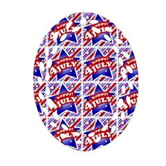 Happy 4th Of July Theme Pattern Ornament (Oval Filigree)