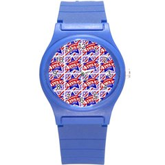Happy 4th Of July Theme Pattern Round Plastic Sport Watch (S)