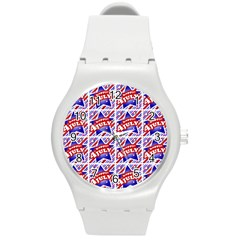 Happy 4th Of July Theme Pattern Round Plastic Sport Watch (M)