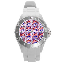Happy 4th Of July Theme Pattern Round Plastic Sport Watch (L)
