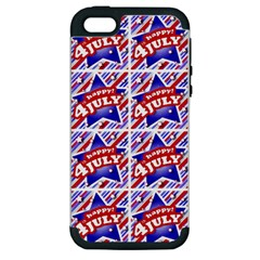 Happy 4th Of July Theme Pattern Apple iPhone 5 Hardshell Case (PC+Silicone)