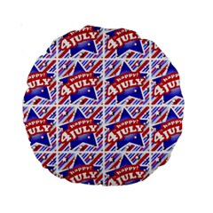 Happy 4th Of July Theme Pattern Standard 15  Premium Round Cushions