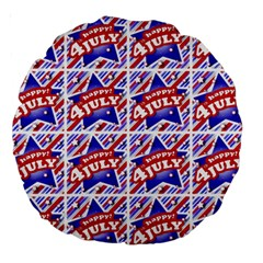 Happy 4th Of July Theme Pattern Large 18  Premium Round Cushions