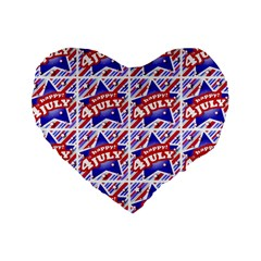 Happy 4th Of July Theme Pattern Standard 16  Premium Heart Shape Cushions