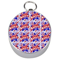 Happy 4th Of July Theme Pattern Silver Compasses