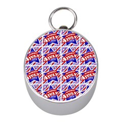 Happy 4th Of July Theme Pattern Mini Silver Compasses