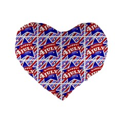 Happy 4th Of July Theme Pattern Standard 16  Premium Flano Heart Shape Cushions