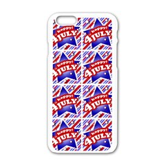 Happy 4th Of July Theme Pattern Apple iPhone 6/6S White Enamel Case