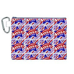 Happy 4th Of July Theme Pattern Canvas Cosmetic Bag (XL)