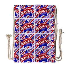 Happy 4th Of July Theme Pattern Drawstring Bag (Large)