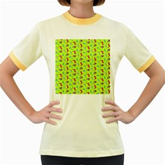 Dinosaurs pattern Women s Fitted Ringer T-Shirts