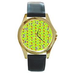 Dinosaurs pattern Round Gold Metal Watch