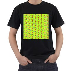 Dinosaurs pattern Men s T-Shirt (Black) (Two Sided)