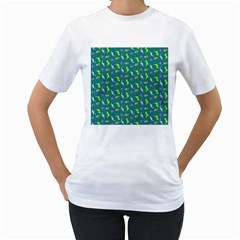 Dinosaurs pattern Women s T-Shirt (White) (Two Sided)