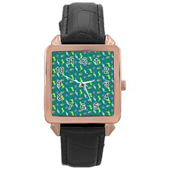 Dinosaurs pattern Rose Gold Leather Watch