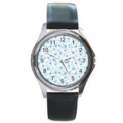 Floral pattern Round Metal Watch
