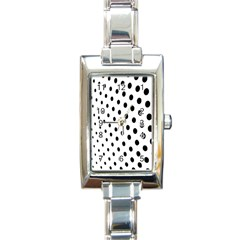 Polka Dot Black Circle Rectangle Italian Charm Watch