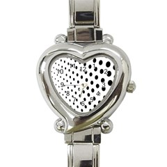Polka Dot Black Circle Heart Italian Charm Watch