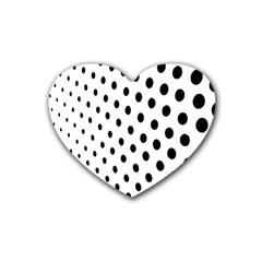 Polka Dot Black Circle Heart Coaster (4 pack)