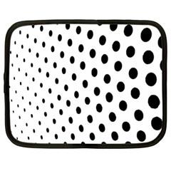 Polka Dot Black Circle Netbook Case (Large)