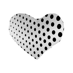 Polka Dot Black Circle Standard 16  Premium Heart Shape Cushions