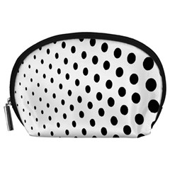 Polka Dot Black Circle Accessory Pouches (Large)