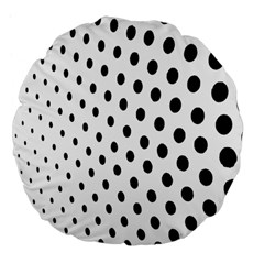 Polka Dot Black Circle Large 18  Premium Flano Round Cushions