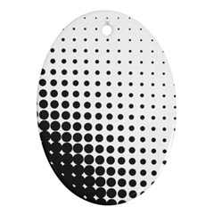 Comic Dots Polka Black White Oval Ornament (Two Sides)