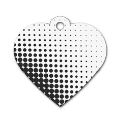 Comic Dots Polka Black White Dog Tag Heart (One Side)