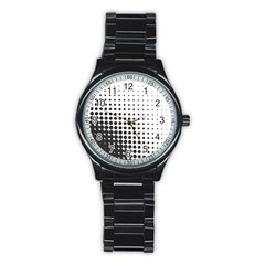 Comic Dots Polka Black White Stainless Steel Round Watch