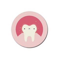 Sad Tooth Pink Rubber Round Coaster (4 pack)