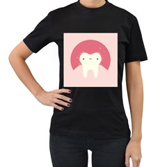 Sad Tooth Pink Women s T-Shirt (Black) (Two Sided)