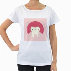 Sad Tooth Pink Women s Loose-Fit T-Shirt (White)