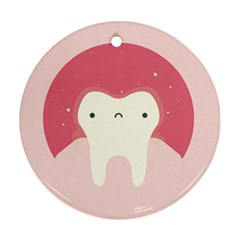 Sad Tooth Pink Round Ornament (Two Sides)
