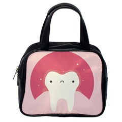 Sad Tooth Pink Classic Handbags (One Side)